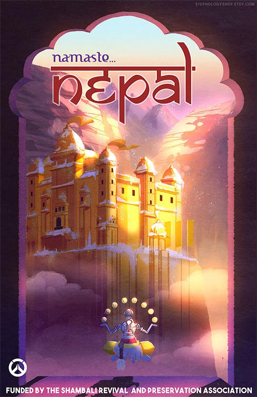Overwatch Nepal Travel Poster on Nepal Location On World Map