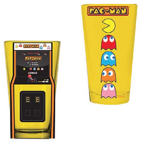 Pac man arcade game cabinet and characters pint glass 2 pack for 2 pac kitchen cabinets