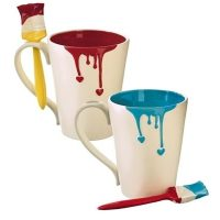 Painted Heart Mug with Spoon