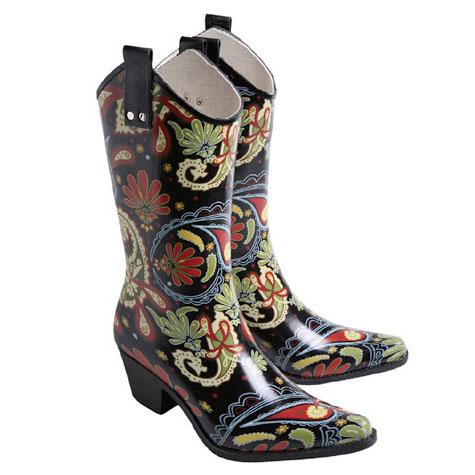 Paisley Cowboy Rain Boots