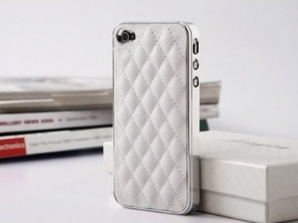 Pandamimi White Deluxe Plastic Chrome Genuine Leather Case