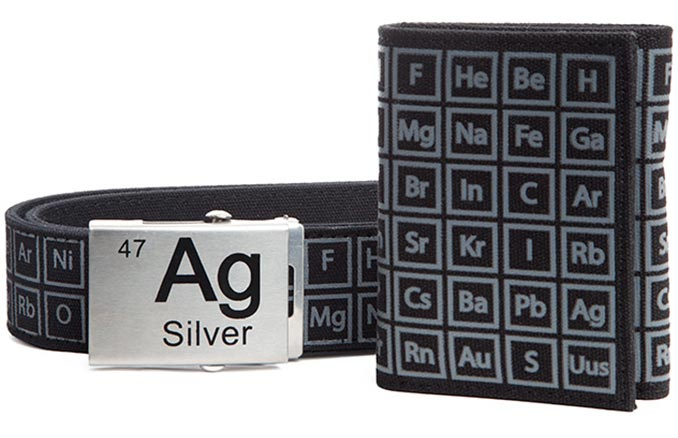 Periodic Table Belt Wallet Set