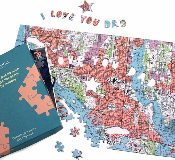 Personalized I Love You Dad Map Puzzle