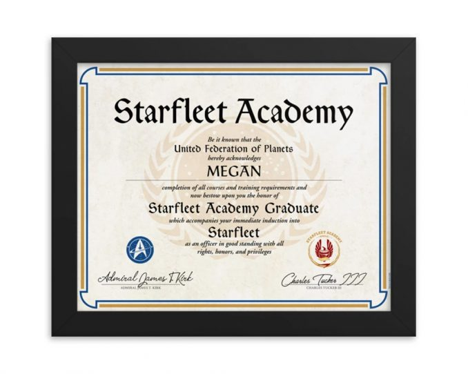 Personalized Star Trek Starfleet Academy Certificate