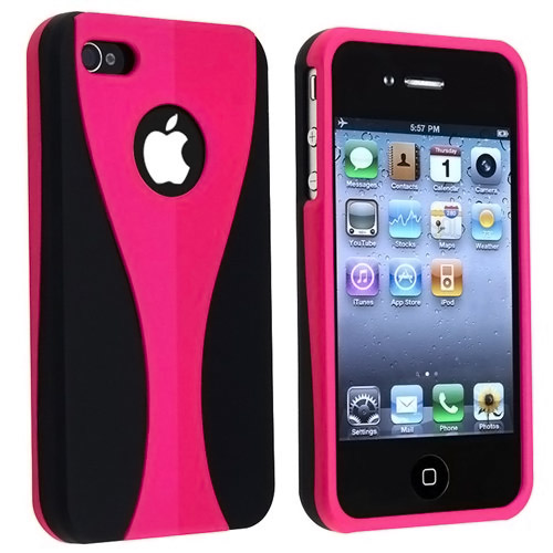 Pink / Black Snap-on Rubber Coated Case