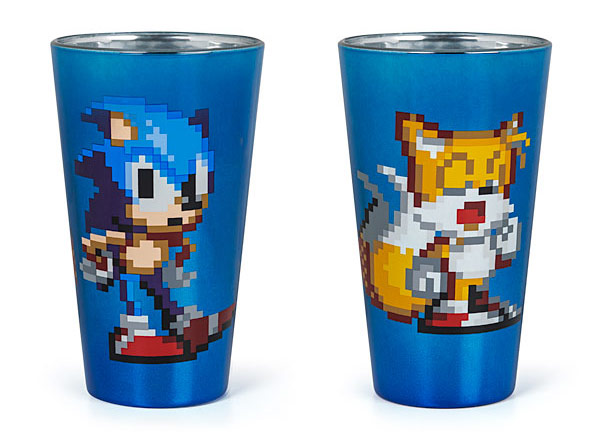 Pixelated Sonic Pint Glasses