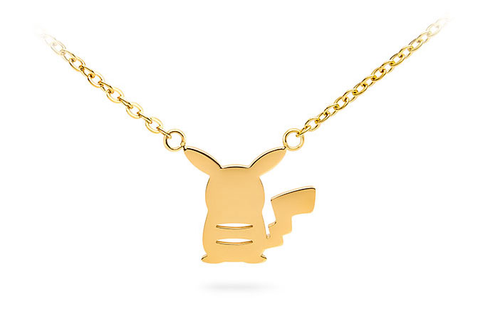 Pokémon Pikachu Gold Silhouette Pendant Necklace