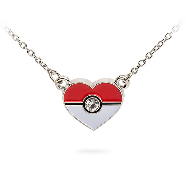 Pokémon Poké Ball Heart Crystal Pendant Necklace