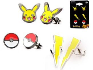 Pokemon Pikachu Lightning Bolt and Poke Ball Stud Earrings 3-Pack