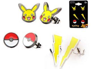 Pokemon Pikachu Lightning Bolt and Poke Ball Stud Earrings 3-Pack