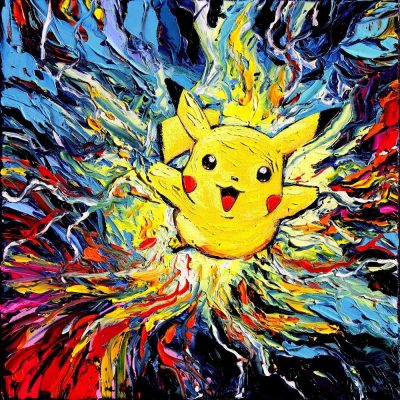 Pokemon Pikachu Starry Night Print