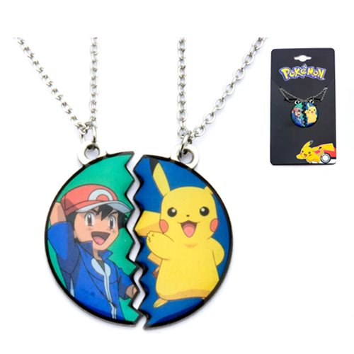 Pokemon Pikachu and Ash Ketchum Best Friends Stainless Steel Pendant Necklace Set