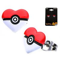 Pokemon Poke Ball Heart Shape Stainless Steel Stud Earrings