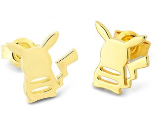 Pokémon Pikachu Gold Back Silhouette Stud Earrings