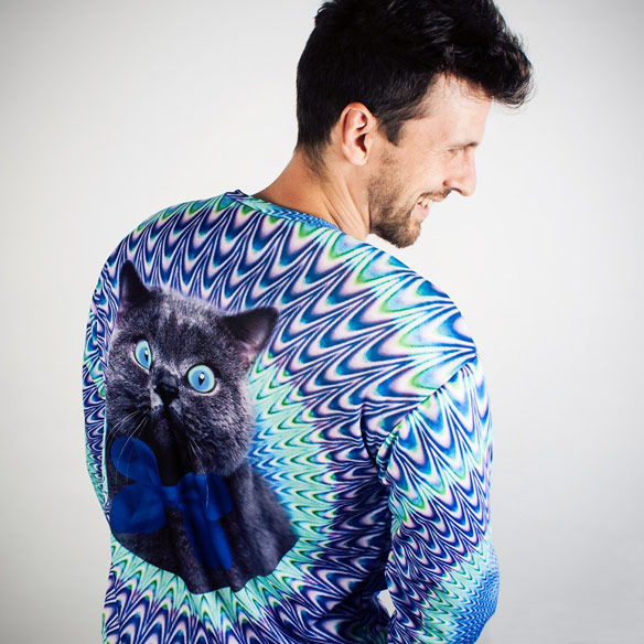Polyester Psychedelic Cat Sweater
