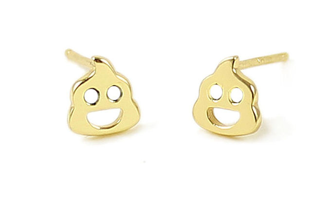 Poop Emoji Charm Stud Earrings