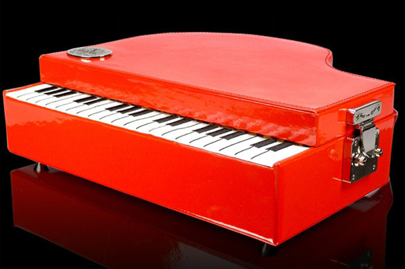 Portable Red Piano Makeup Case