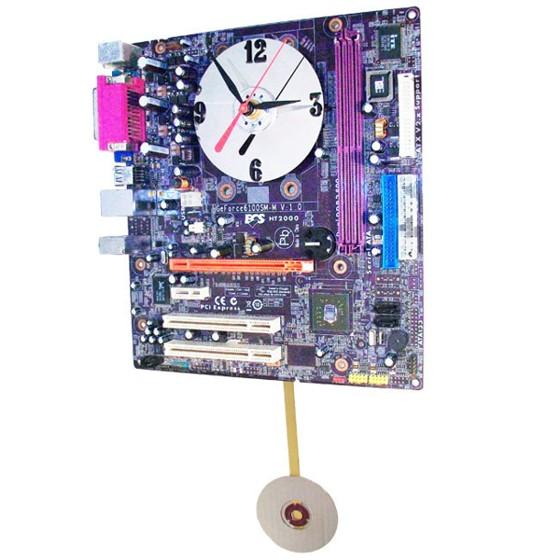 Purple Motherboard Pendulum Clock