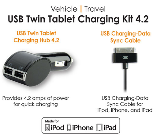 Qmadix USB Twin Tablet Charging Kit 4.2