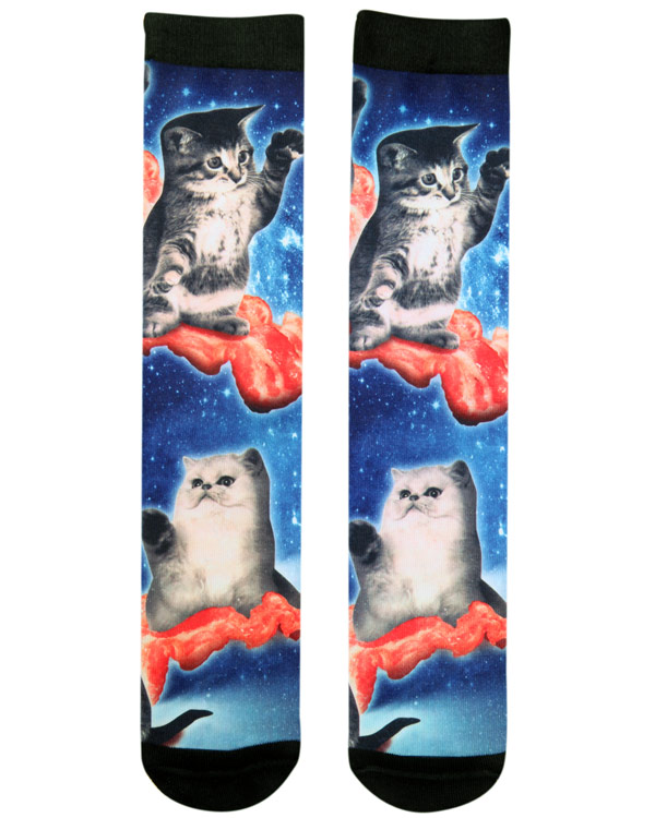 RUDE Bacon Cats Crew Socks