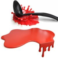 Red Paint Splash Chopping Board and Spoon