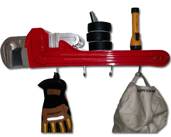 Resin Handyman Wrench Coat Rack Shelf