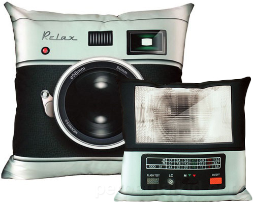 Retro Camera And Flash Pillow Set
