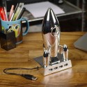 Retro Silver Moon Rocket Ship USB Hub