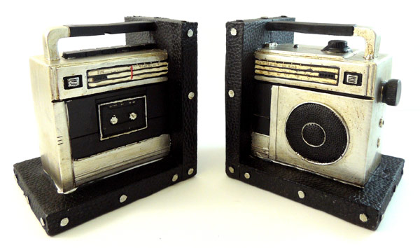 Retro Style Boom Box Set Bookends