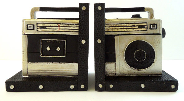Retro Style Boombox Bookends