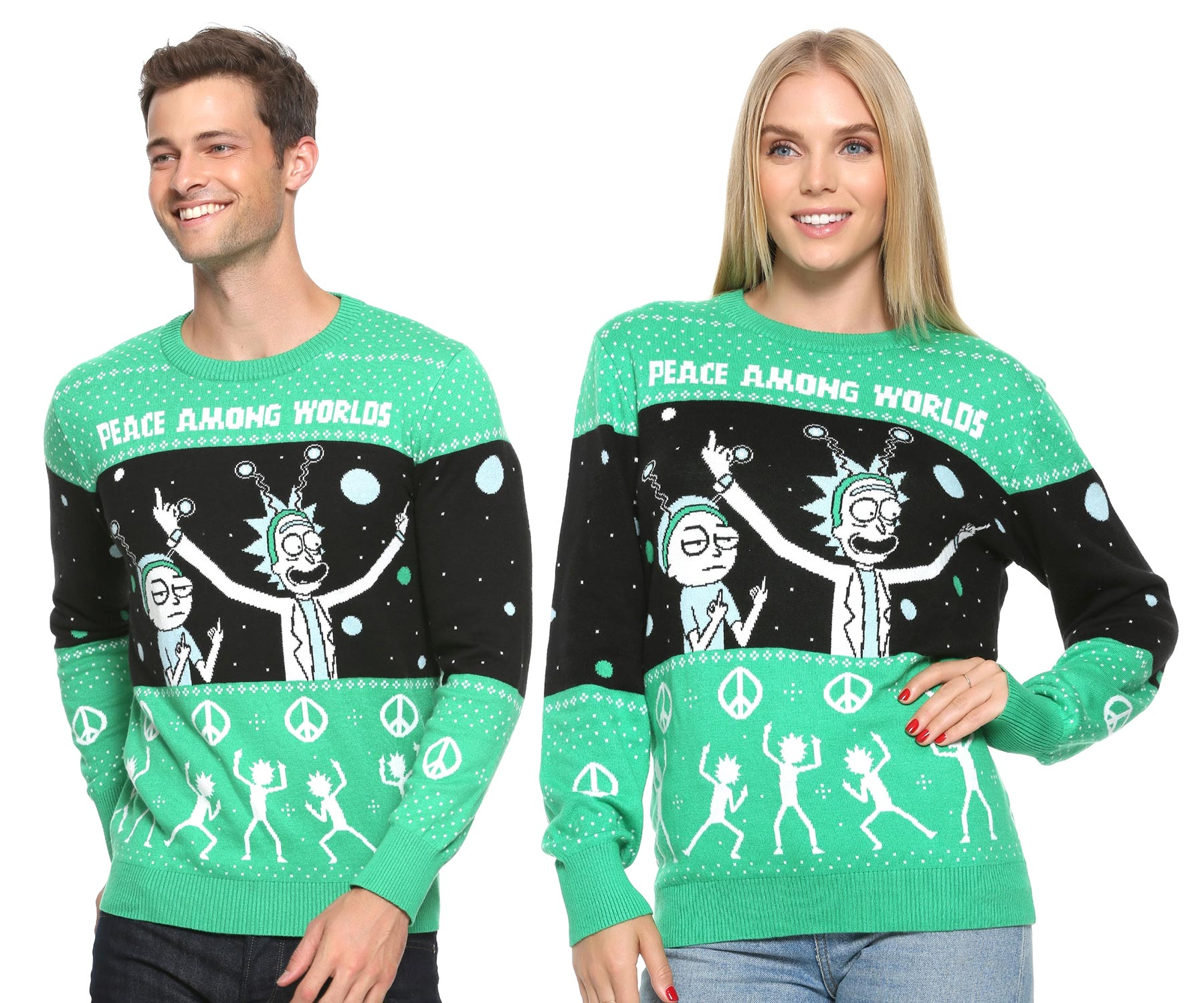 Rick And Morty Ugly Christmas Sweater.Rick And Morty World Peace Holiday Sweater