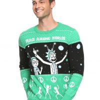 Rick And Morty World Peace Mens Holiday Sweater