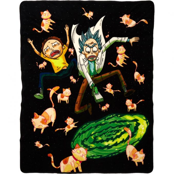 Rick and Morty Cats Portal Throw Blanket