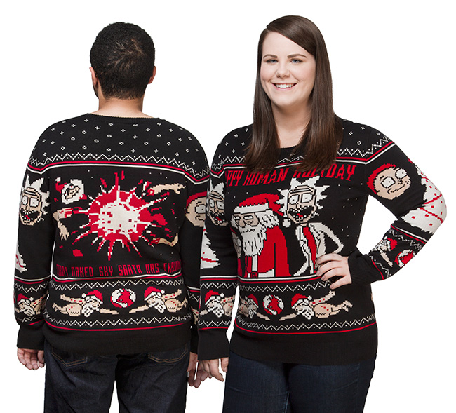 Rick And Morty Ugly Christmas Sweater.Rick And Morty Happy Human Holiday Knit Sweater