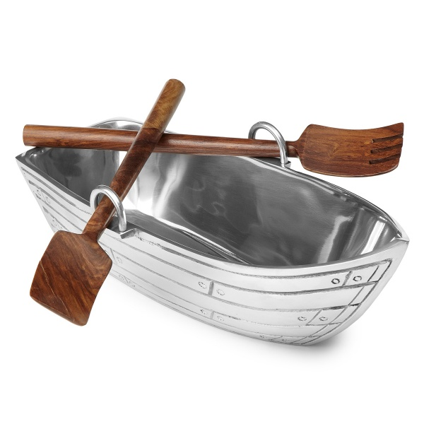 Wood Salad Servers Row Boat Salad Bowl With Wood