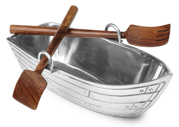 Row Boat Salad Bowl with Wood Utensils