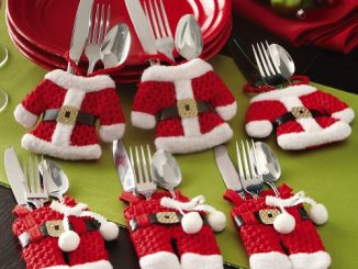 Santa Claus & Mrs. Claus Silverware Place Setting Holders