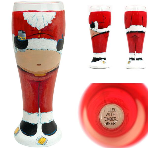 Santa's Beer Belly Pilsner Glass