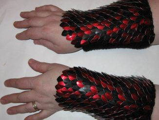 Scalemail Knitted Dragonhide Red and Black Armor Bracers