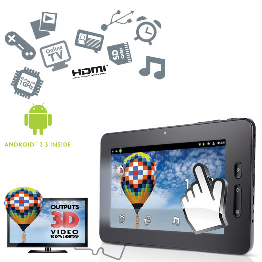 "Scroll Excel 7"" Tablet with 3D & 1080p HD Output"