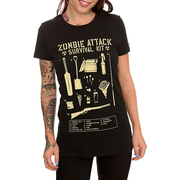 Shaun Of The Dead Zombie Attack Survival Kit Girls T-Shirt