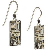 Silver Circuit Board Earrings