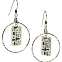 Silver Hoop Circuit Board Earrings