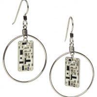 Silver Hoop Circuit Board Earrings