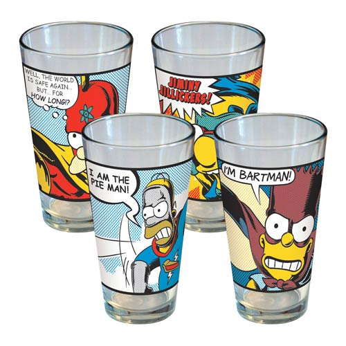 Simpsons Superhero Pint Glass 4-Pack