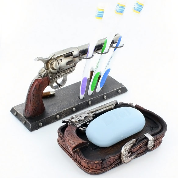 Six Shooter Pistol Bathroom Toothbrush and Soap Holder