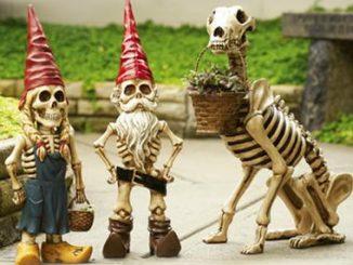 Skel-E-Gnome Garden Statues