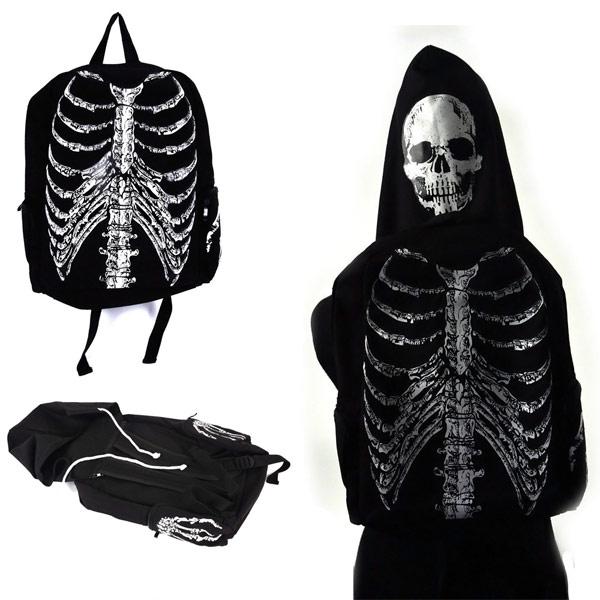 Skeleton Backpack with Detachable Skull Hood