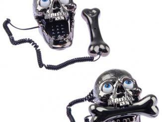 Skull Skeleton Corded Telephone