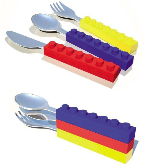 Snack and Stack Lego Block Utensils